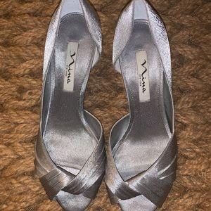Silver Nina Culvar Pumps Size 9W